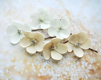 Wedding hair flowers Wedding Hair Piece Ivory Champagne Headpiece Hair Flowers Bridal Wedding Headpiece Bridesmaid Hair Accessories -ADELE