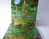 """Single Greetings Card of an original Animal painting: """"Staking Out in the White Garden"""""""