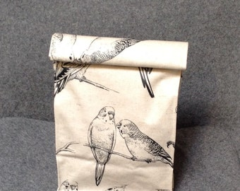 Bird Lunch Bag / Laminated Fabric Lunch Bag /Folding Lunch Bag / White