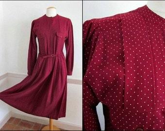 Cacharel Dress / Vintage Cacharel Dress / fits M / 70s Cacharel Dress / 70s French Dress / Vintage Burgundy Dress / Polka Dot Burgundy Dress
