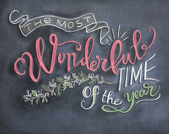Christmas chalkboard poster - The Most Wonderful Time of the Year