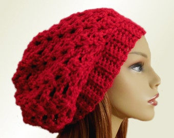 RED Hat SLOUCHY Beanie Hat Crochet Slouch Knit Slouchie Wool Bright Red Beany Women Hats Teen Hat Gift for Her
