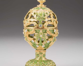 Green Faberge Egg Handmade Trinket Box Decorated with Swarovski Crystals