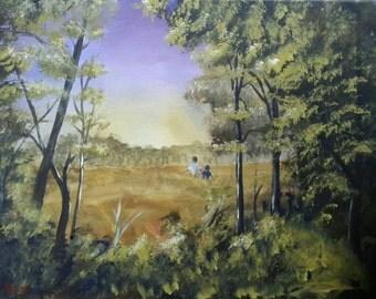 walking through the field - landscape print