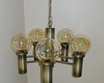 Vintage Mid Century EJS Lighting Brass Atomic -5 Arm/10 bulb- Orb Sputnik Light Fixture