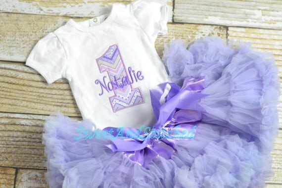 Purple First (1st) Birthday Outfit with Pettiskirt tulle tutu - First birthday outfit, birthday pettiskirt! lavender cake smash outfit