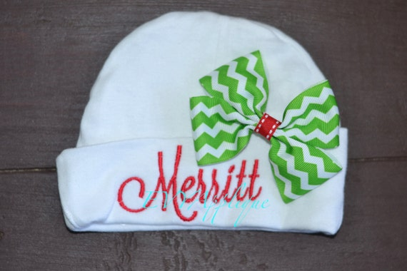 Personalized baby Christmas hat - baby girl Christmas hat with bow, infant beanie hat, monogrammed baby hat, personalized infant hat