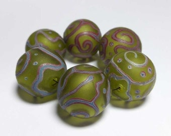 Lampwork Glass bead handmade Beads green.  Frosted beads. Hollow balls.