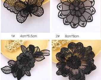 10 pcs black lace patch sew-on Applique, garment DIY accessory #2374