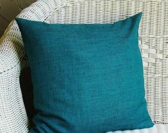 outdoor teal turquoise pillow cover decorative throw accent pillow 16x16 18x18 20x20 12x16 12x18 12x20 lumbar