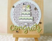 Handmade Wedding Card #1608 - Congrats Wood Garden Theme Brown And Green