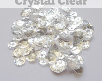 Crystal Clear Sequins - 6mm cupped