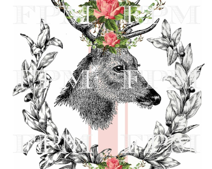 Vintage Digital Reindeer Transfer Print, Christmas Pillow Image,  Antlers with Flowers, Reindeer Iron On Instant Download
