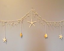 Beach garland with starfish and pearls, pearl garland, seashell garland, nautical home or wedding decor, beach wedding, star fish garland