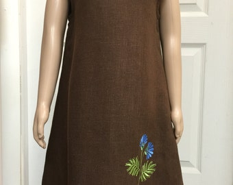 Girl Dress Sleeveless Dress Linen Embroidery Brown