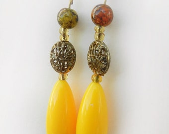 Vintage Yellow Lucite, Antique Gold Filigree Dangle Earrings