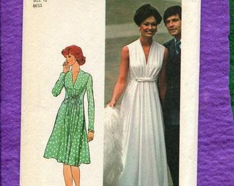 Vintage 1974 Simplicity 6672 Greek Goddess Inspired Evening Gown with Deep V Neckline Size 12 UNCUT