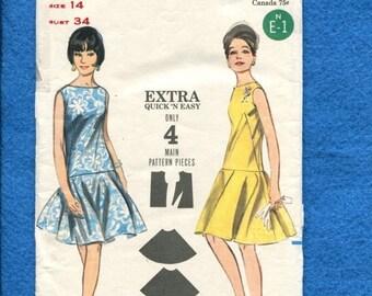 ON SALE 1960's Butterick 3578 Modernized Flapper Dress with Bateau Neckline & Full Circle Flounce Skirt Size 14