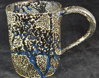 Large black and Blue Mug