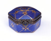 Limoges Cobalt Gold Claret hand painted Hinged Trinket / Pill Box Made in France