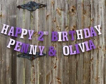 Purple Birthday Banner, Purple Birthday, 1st Birthday Banner, Birthday Decor, Birthday Favor, Birthday Garland, Photo Prop, Girl Birthday