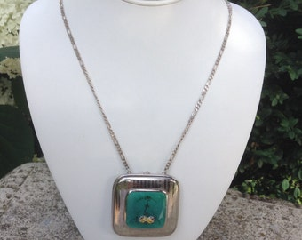 Vintage Compact Art Deco Guilloche Enamel with Sterling Silver Chain