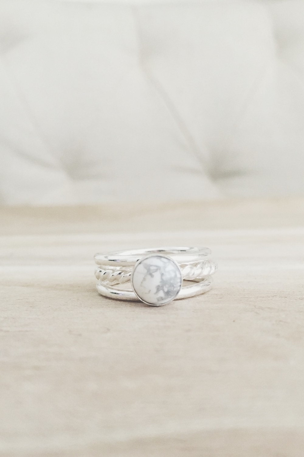 white howlite stacking set white turquoise ring sterling