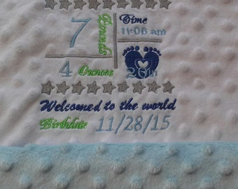 Personalized baby blanket. Birth announcement blanket. Soft minky baby blanket.
