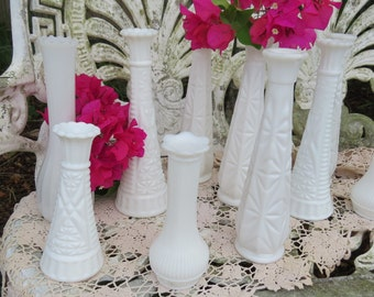 Collection Vintage Milk Glass Vases - Wedding Flower Vases - Lot white Milk Glass Bud Vases