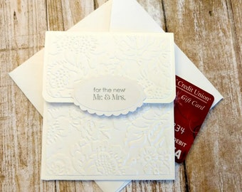 Embossed Wedding Gift Card Holder With Envelope, Mr & Mrs Gift Card Holder, Stampin Up Wedding Card