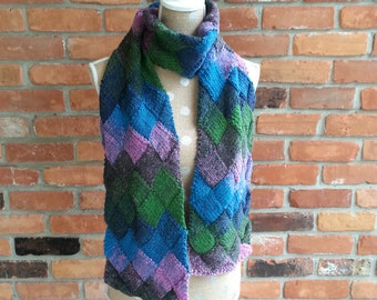 Scarfm Hand Knit Entrelac Scarf in Shade of Blue, Pink & Green