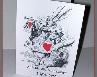 Alice in Wonderland White Rabbit Valentines Card