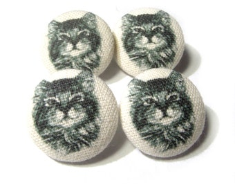 Fabric covered buttons Cats Kitten, bag purse ecru buttons, funny cat buttons, children kids buttons, sewing buttons, sweater buttons