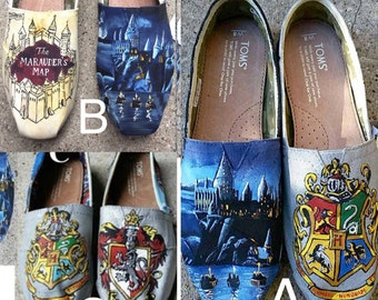 Hand Painted Harry Potter Toms: Pick from 3 Variations