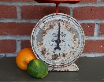 Scale Vintage 1930's Rustic Orange and White Kitchen Scale WAY RITE