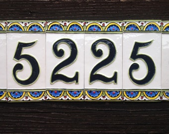 Ceramic house number, 4 digit with 2 border
