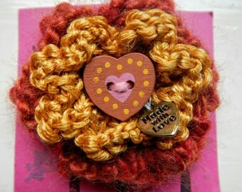 Hand Knitted Gold Flower Brooch with Brown Button