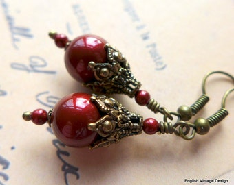 Swarovski Dark Red Pearl Earrings, Vintage Style Earrings, Red Pearl Earrings, Victorian Earrings, Handmade Earrings, Dangle Earrings