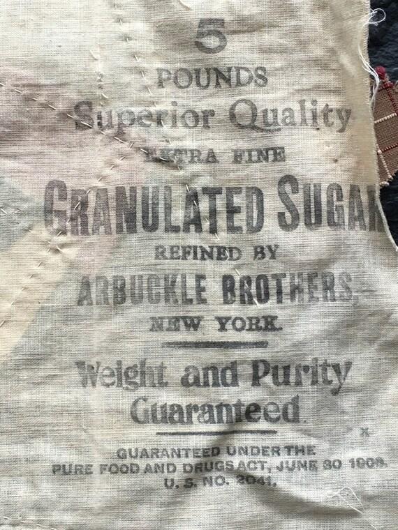 Antique Crazy Quilt Block On 1906 Arbuckle Sugar Sack Backing