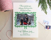 Letterpress Holiday Photo Card Set - 25 or more flat cards - 1 ink color- Christmas, Template, Wreath, Spruce, Family, Handmade, Simple, DIY