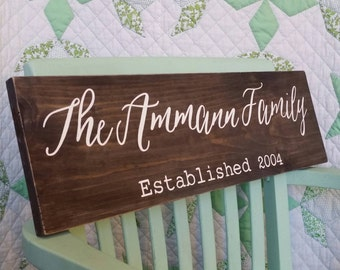 Custom Family Name Sign. Anniversary Gift. Wood Wedding Sign. Last Name Art. Rustic Decor. Personalized Established Sign. Bridal Shower Gift