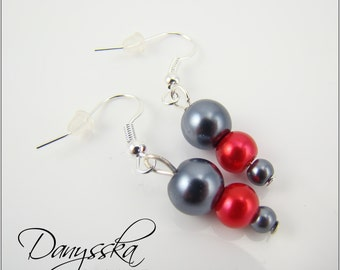 Gray and Red Bead Earrings