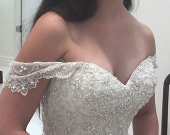 Detachable straps. Scalloped edged lace, off the shoulder. Lightly beaded # 79