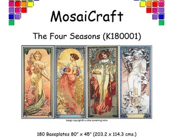 MosaiCraft Pixel Craft Mosaic Art Kit - 'The Four Seasons' (Like Mini Mosaic and Paint by Numbers)