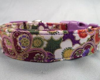 Purple Dog Collar Fancy Flowers