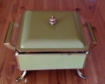 Vintage Enamel Chafing Dish Set, warming Tray,Anchor Hawking fire King Original Glass Insert, enamel Buffet Server, Retro Avocado Green