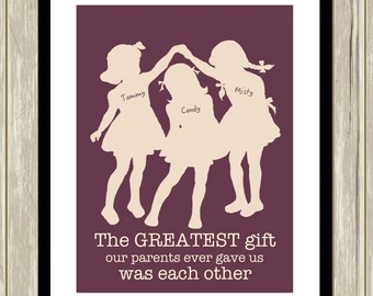 Three sisters wall art, shared sisters room, girls room decor, siblings art, kids room art, sisters wall art, custom colors
