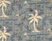 Indoor / Outdoor Weather Resistant Fabric By The Yard - Tommy Bahama Island Song Ocean Blue - Tropical Map Print
