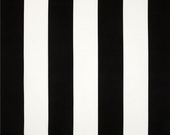 Indoor / Outdoor Weather Resistant Fabric By The Yard - Vertical Stripe Black White