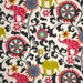 Indoor / Outdoor Weather Resistant Fabric By The Yard - Waverly Sun N Shade Menagerie Spectrum - Pink, Green, Black, Turquoise Elephant